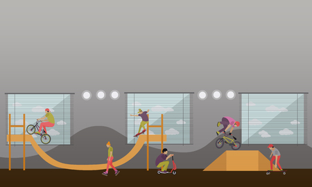 skaters: Vector set of skate park banners. Outdoor and indoor parks with ramp for skaters and rollers.