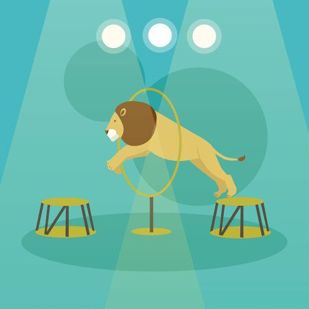 Circus concept vector banner. Acrobats and artists perform show in arena. Animals show and performance poster. Illustration