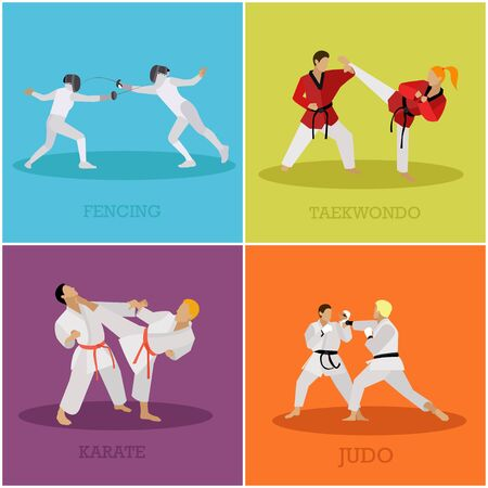 sidekick: Vector set of martial arts people silhouette. Sport positions vector illustration. Design elements and icons. Martial arts and fencing fighters.