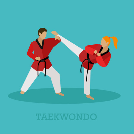 sidekick: Martial arts people silhouette. Sport positions vector illustration. Design elements and icons. Martial arts fighters.