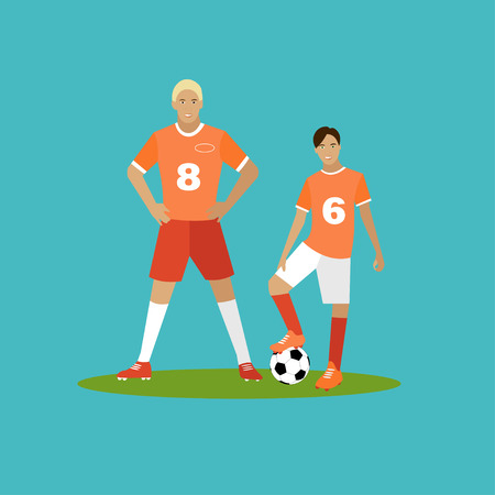 cleats: Soccer player with equipment. Sport concept vector illustration in flat style design. Football uniform, cleats, ball and protection. Design elements and icons. Illustration
