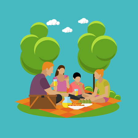 recreation: Vector illustration of summer recreation concept design elements. Cartoon labels. Family picnic and camping in a park flat icons.