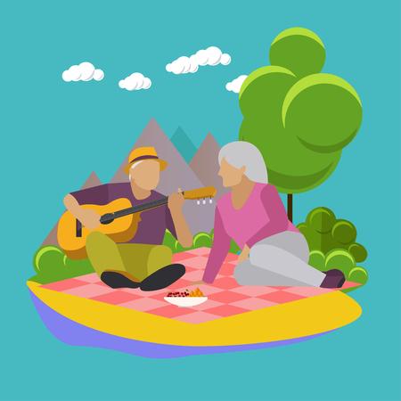 ricreazione: Illustrazione vettoriale di ricreazione estiva elementi di concetto di design. etichette dei cartoni animati. picnic in famiglia e campeggio in un parco icone piane. Vettoriali