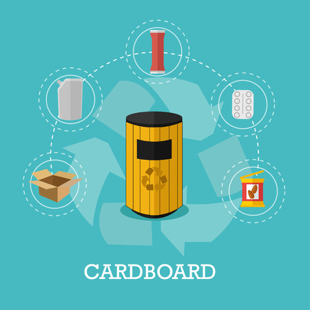 composting: Garbage recycle concept vector illustration in flat style. Cardboard waste recycling poster and icons. Trash bin.