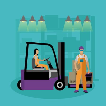 depot: Logistic and delivery service concept banner. Warehouse workers. Vector illustration in flat style design. Delivery man working in warehouse and shipping products.
