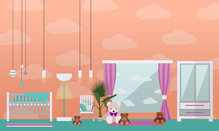 nursery room: Nursery room interior. Vector illustration in flat style. Baby room with cradle. Illustration