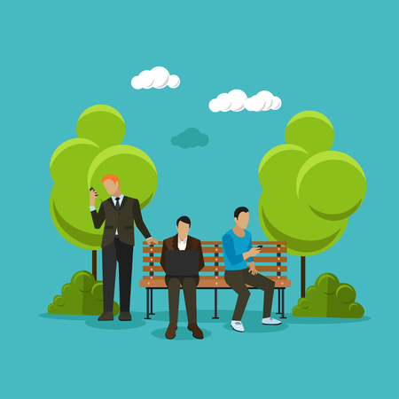 hotspot: Public free Wi-Fi hotspot zone concept vector illustration in flat style design. People using wireless internet in a park.