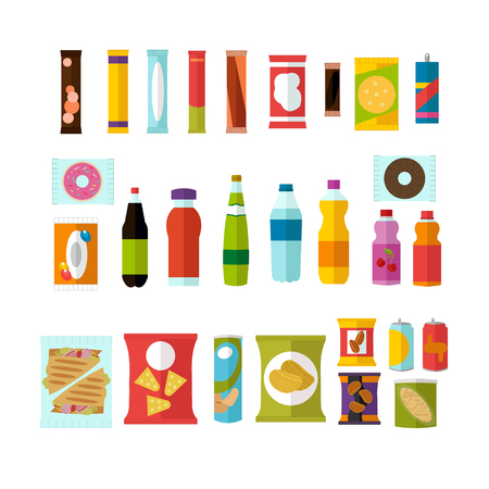 Vending machine product items set. Vector illustration in vector style. Food and drinks design elements and icons isolated on white background. Vectores