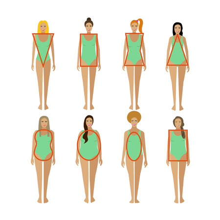 Different female body types. Woman body figure shapes. Vector illustration in flat style. Design elements and icons isolated on white background.