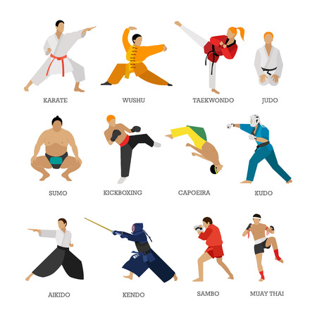 Vector set of martial arts people silhouette isolated on white background. Sport positions. Design elements and icons. Martial arts fighters. Иллюстрация