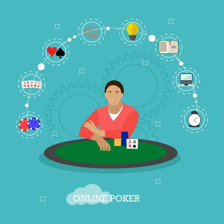 Man playing poker on a table. People in casino concept vector illustration in flat style. Online card game design elements and icons. Cards, chips. Illustration