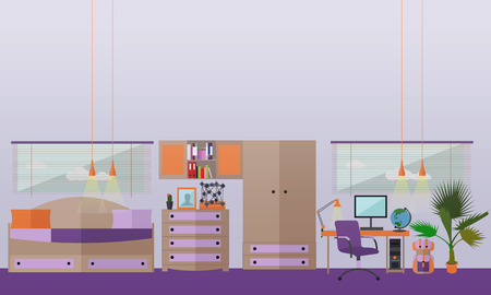 desk toy: Teenager bedroom interior objects in flat style. Vector illustration. House room design elements and icons. Illustration