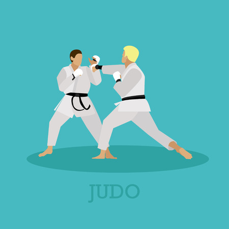 aikido: Martial arts people silhouette. Sport positions vector illustration. Design elements and icons. Martial arts fighters.