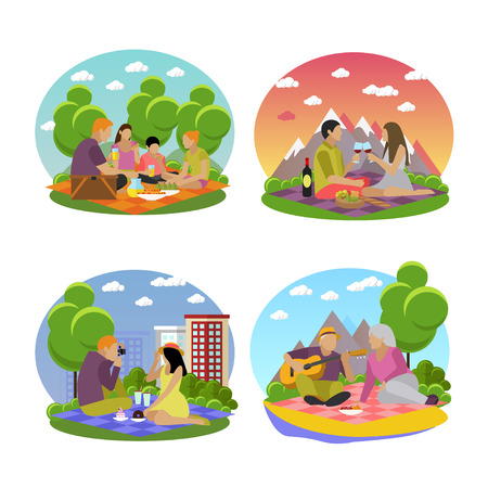 family picnic: Vector illustration of summer recreation concept design elements. Cartoon labels. Family picnic and camping in a park flat icons.