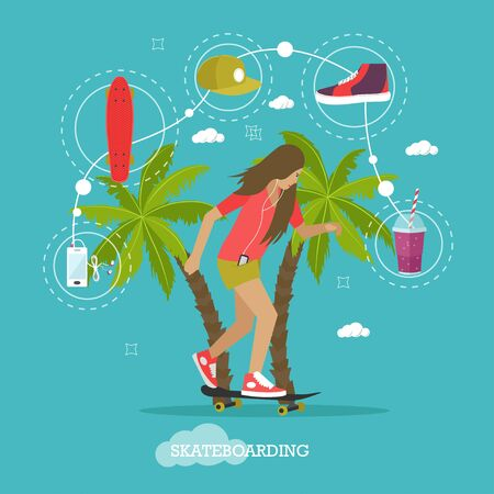 subculture: Young girl skateboarding next to palms. Vector illustration in flat style. Urban citizen character. Skateboard, phone, snapback.
