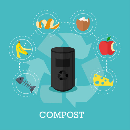 Garbage recycle concept vector illustration in flat style. Compost waste recycling poster and icons. Trash bin. Иллюстрация