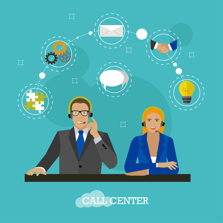 Male and female operators in call center concept vector banner. Customer service and support company office. People work in call center. Man and woman with headset. Illustration