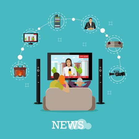 big break: People at home watching city news on tv. Concept vector illustration in flat style design.