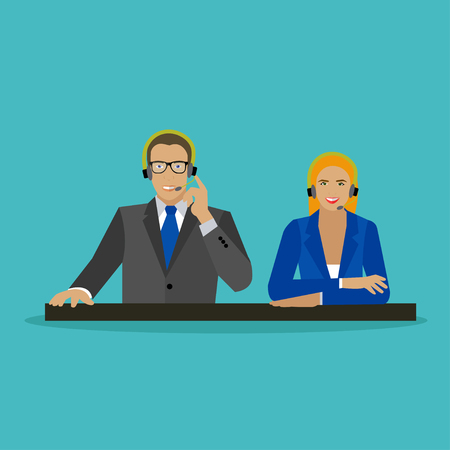 call center female: Male and female operators in call center concept vector banner. Customer service and support company office. People work in call center. Man and woman with headset. Illustration