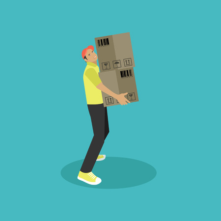 warehouse worker: Logistic and delivery service concept banner. Warehouse worker. Vector illustration in flat style design. Delivery man shipping products. Illustration
