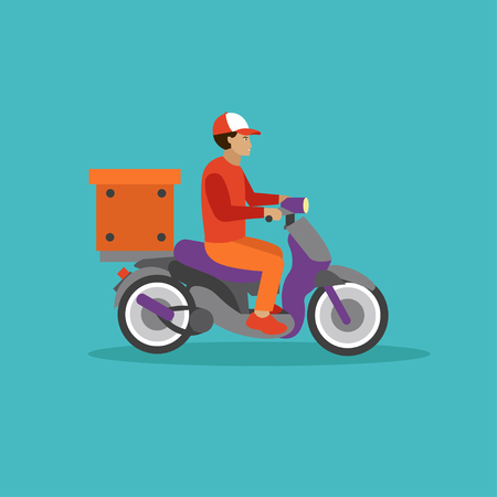 courier service: Logistic and delivery courier service concept banner. Warehouse workers. Vector illustration in flat style design. Delivery man on a scooter shipping food orders.