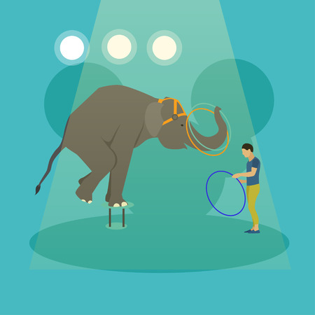 manege: Circus concept vector banner. Acrobats and artists perform show in arena. Animals show and performance poster. Illustration