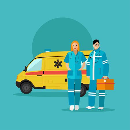 emergencia medica: Coche de la ambulancia y el equipo de paramédicos de emergencia. Ilustración del vector en el diseño de estilo plano. concepto de la ayuda médica.