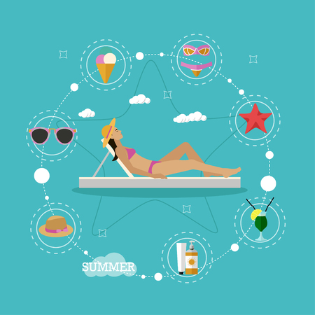 sun bathing: Summer beach vacation concept vector illustration in flat style. Design elements and icons. Summer tropical holidays attributes. Beautiful woman sun bathing in a lounge chair.