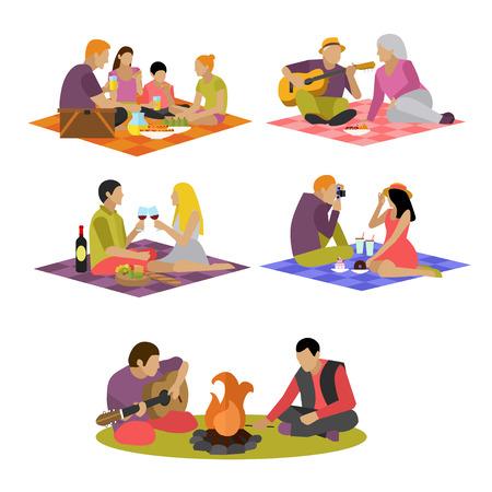 pareja comiendo: Ilustración del vector de elementos de diseño de concepto de recreación de verano. etiquetas de dibujos animados. la familia de picnic y camping en los iconos planos del parque. Vectores