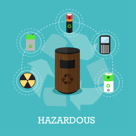 Garbage recycle concept vector illustration in flat style. Hazardous waste recycling poster and icons. Trash bin.