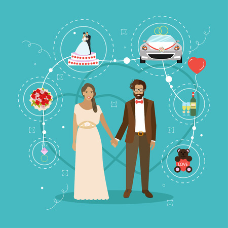 Just married couple with wedding attributes concept vector illustration. Design elements and icons in flat style.