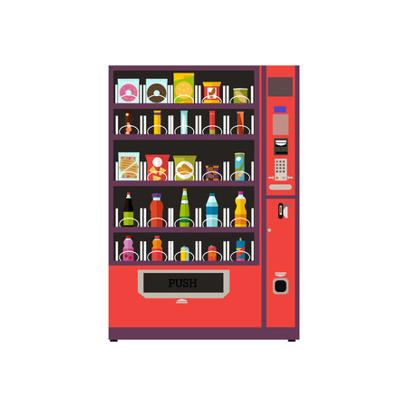 Expendedoras de artículos de productos configuración de la máquina. Ilustración del vector en estilo del vector. elementos de diseño y bebidas de la comida y los iconos aislados sobre fondo blanco. Ilustración de vector