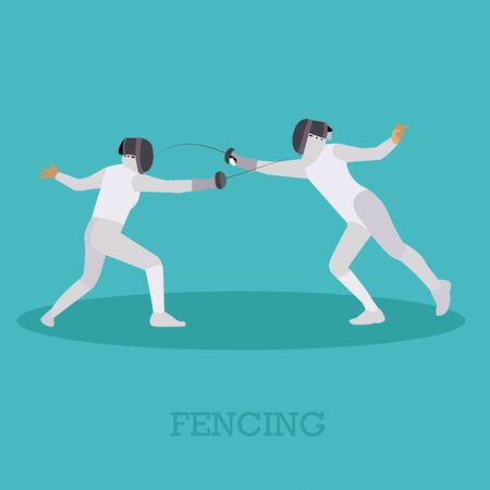 Sport fencing athletes isolated icons. Fencing silhouette vector illustration. Sport design elements and icons.