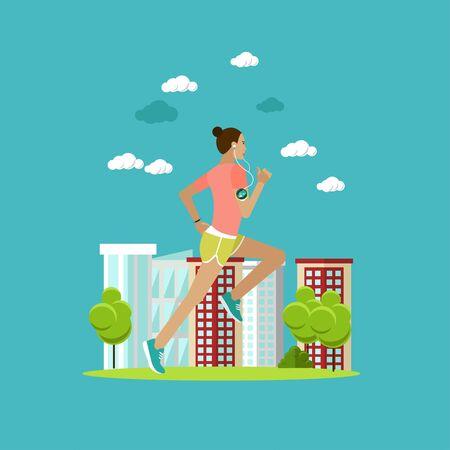 Mujer corriendo en una calle. Deporte de fitness ilustración vectorial concepto en estilo plano. Diseño de elementos e iconos. Estilo de vida saludable. Ilustración de vector