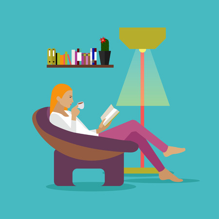 modern chair: Young woman at home sitting on modern chair, reading book and drinking coffee. Vector illustration in flat style design.