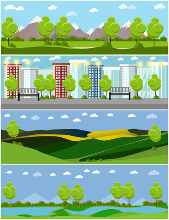 green road: City and outdoor landscape. Vector illustration in flat style design. Countryside nature with tree, mountains, river.
