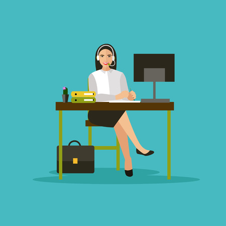 computer operator: Female operator in call center concept vector banner. Customer service and support company office. People work in call center. Woman with headset and computer. Illustration