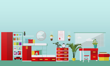 Kids bedroom interior in flat style. Vector illustration. House room design elements and icons. Vettoriali