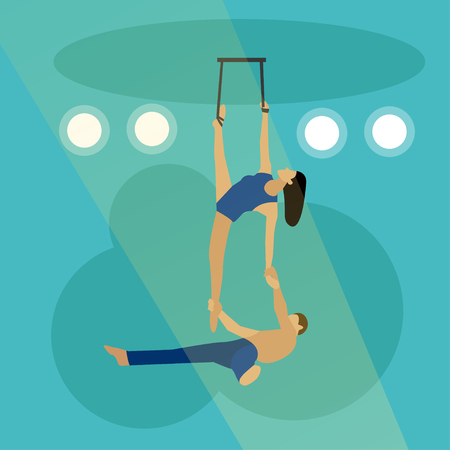 manege: Circus concept vector banner. Acrobats and artists perform show in arena.