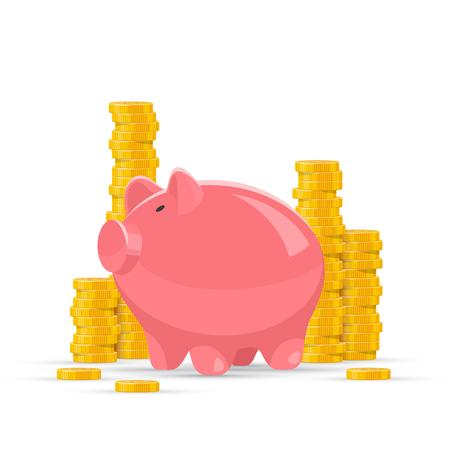 Saving money concept vector illustration. Pink piggy bank with golden coin piles on background.