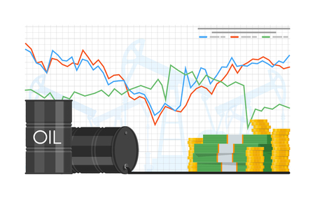 Barrel of oil price chart vector illustration in flat style. Stock chart on laptop screen. Pile of money. Иллюстрация