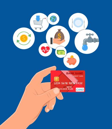 Credit card payments concept vector illustration in flat style. Financial design elements and icons. Hand holding bank card.