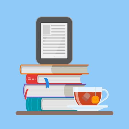 electronic publishing: Electronic book concept vector illustration in flat style. Stack of books and e-book reader.