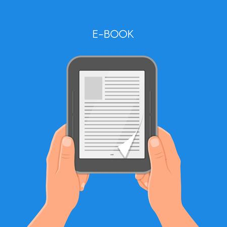 reader: Human hands holding electronic book. Concept vector illustration in flat style. E-book reader.