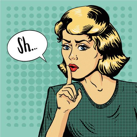La donna mostra il segno di silenzio. Illustrazione vettoriale in stile retrò pop art. Messaggio Shhh per Smettere di parlare e essere abbastanza. Vettoriali