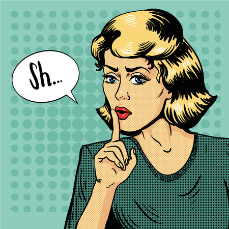 silent: Woman show silence sign. Vector illustration in retro pop art style. Message Shhh for stop talking and be quite.