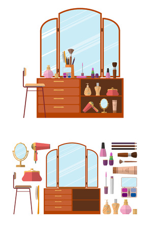 dressing table: Room interior with dressing table. Woman cosmetics objects in flat style vector illustration. Furniture for female boudoir. Design elements and icons isolated on white background. Illustration