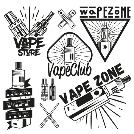 vaporizer: Vector set of vape shop labels in vintage style. Design elements, icons,   emblems and badges isolated on white background. Vape device and Electronic cigarette. Illustration
