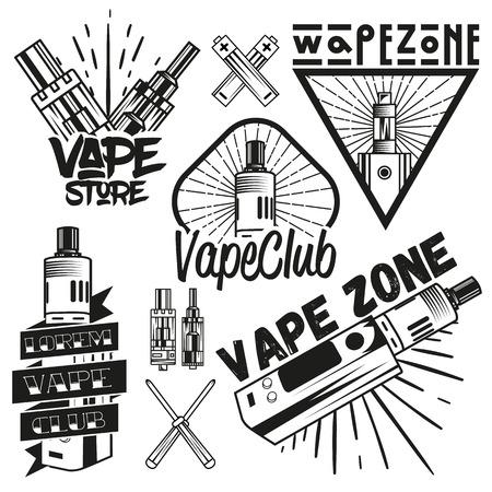 propylene: Vector set of vape shop labels in vintage style. Design elements, icons,   emblems and badges isolated on white background. Vape device and Electronic cigarette. Illustration