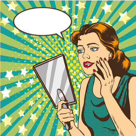 Woman looks at the mirror vector illustration in retro comic pop art style. Speech bubble.